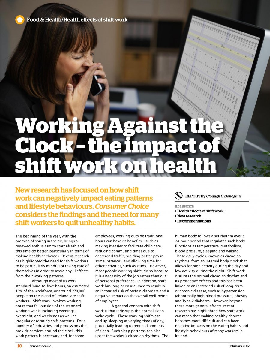 an examination of the health hazards of shift work Shift work is a major feature of modern work practices it involves individuals working at times considered unconventional for most workers, such as at night although the community often benefits from such work practices, shift work can be hazardous, for both the workers and the community.